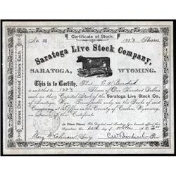 Wyoming - Saratoga Live Stock Company Stock Certificate.