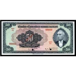 Turkey - Central Bank of Turkey, Third Issue Specimen Banknote.