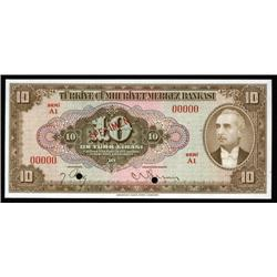 Turkey - Central Bank of Turkey, Fourth Issue Specimen Banknote.