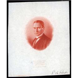 Turkey - Mustapha Kemal Pacha Color Trial Essay Proof Vignette by ABNC.
