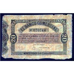 Uruguay - El Banco Comercial, Law of 1862; 1863 Issue.