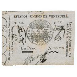 Venezuela - Estados Unidos De Venezuela, Treasury, Law of 27.8.1811 First Issue.