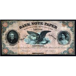 "U.S. - American Bank Note Company Advertising Note for ""Bank Note Paper""."