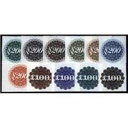 U.S. - Proof Vignette Denomination Counters for 100 & 200 Pounds by National BNC.
