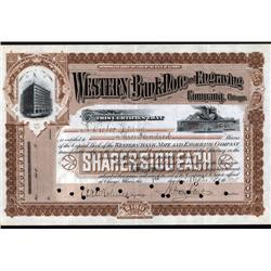 U.S. - Western Bank Note and Engraving Company Stock Certificate.