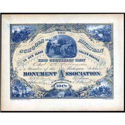 Michigan - Michigan Soldiers Monument Association Certificate, Civil War.