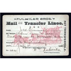 Texas - Texas Stage Coach Pass, Fulwiler Bros. Mail and Transfer Lines.