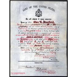Dakota Territory & Minnesota. - Dakota Territory Army Discharge and Minnesota 1860 land Grant.
