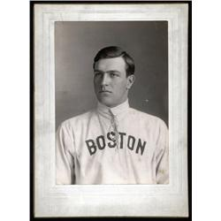 "Massachusetts - *James ""Red"" Morgan, ""Boston Americans"" Baseball Player Cabinet Card with ""Boston"" U"