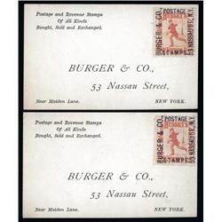 New York - Burger & Co., Nassau Street Stamp Dealer Business Card Pair.