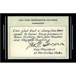 Washington, D.C. - John Nance Garner Autograph on Card.