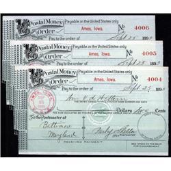 Iowa - U.S. Postal Money Order, Ames, Iowa, 1895 Trio.
