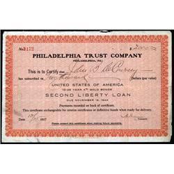 Pennsylvania - Philadelphia Trust Co., U.S.A. 10-25 Year 4% Gold Bonds Second Liberty Loan Payment C