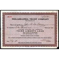 Pennsylvania - Philadelphia Trust Co., U.S.A. Third Liberty Loan, 4 1/4% Gold Bonds Payment Certific