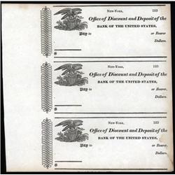 U.S. - Bank of the United States, Office of Discount and Deposit, Uncut sheet of 3 checks.