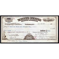 Washington, D.C. - U.S. Treasury Department - Interior Settlement Warrant.