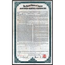 Washington, D.C. - U.S.A. Adjusted Service Certificate - World War Adjusted Compensation Act Certifi