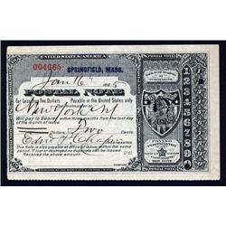 Massachusetts - Springfield, Massachusetts, 1885, 2cts Postal Note.