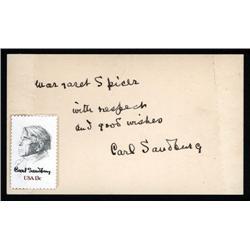 - Carl Sanburg Autograph, American Poet.