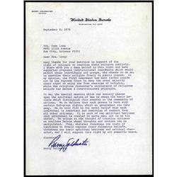 Washington, D.C. - Senator Barry Goldwater Autographed Letter Quartet.