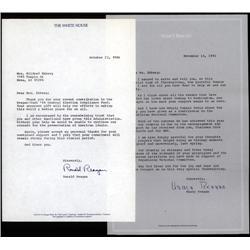 Washington, D.C. - Nancy and Ronald Reagan Autographed Letters.