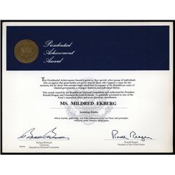 Washington, D.C. - Ronald Reagan Autographed Certificate.