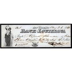 Louisiana - Bank of Louisiana Check autographed by Thomas O. Moore as Governor.