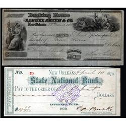 Louisiana - New Orleans Check, Draft and Exchange Assortment Including E.A.Burke Autograph Checks.