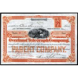 Pennsylvania - Overland Telegraph Company Stock Certificate.
