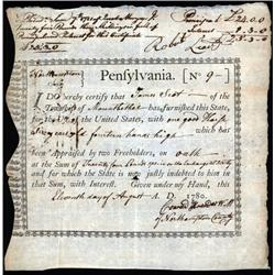 "Pennsylvania - Pennsylvania ""Horse Bond"" Aug. 11, 1780."