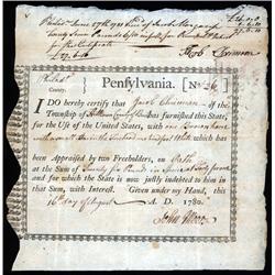 "Pennsylvania - Pennsylvania ""Horse Bond"" Aug. 16, 1780."