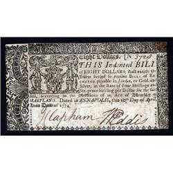 Maryland - Annapolis. April 10, 1774  Colonial Note.