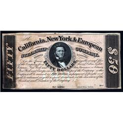 California - California, New York  European Steamship Co. $50 Coupon or Scrip Note.