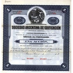 Argentina - Sociedad Argentina de Edificacion Specimen Bond.