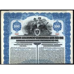 Austria - Austrian Government Guaranteed Loan 1923-1943 Specimen Bond.