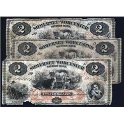 Maryland - Somerset & Worcester Savings Bank $2 Notes. Salisbury.