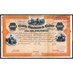 Bolivia - Credito Hipotecario De Bolivia Bond Specimen Bond.