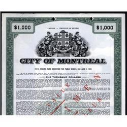 Canada - City of Montreal Bond