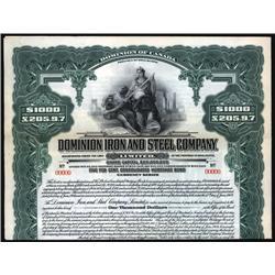 Canada - Dominion Iron and Steel Co. Ltd. Specimen Bond.
