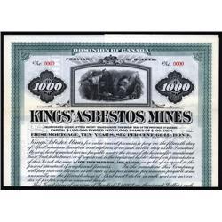Canada - Kings' Asbestos Mines Specimen bond.
