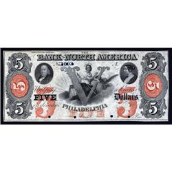 Pennsylvania - Bank of North America, $5 Remainder or Specimen.