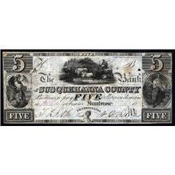 Pennsylvania - Bank of Susquehanna County $5 Obsolete Banknote.