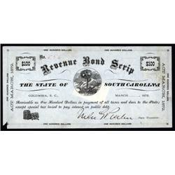 South Carolina - Revenue Bond Scrip, $100, State of South Carolina Trio.