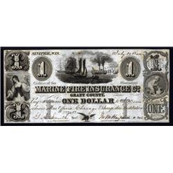 Wisconsin - Mississippi Marine Fire Insurance Co., Grant County Obsolete Banknote.
