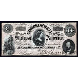 - 1864. $100. T-65 Confederate.