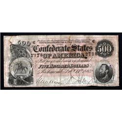 - 1864. $500. T-64 Confederate .