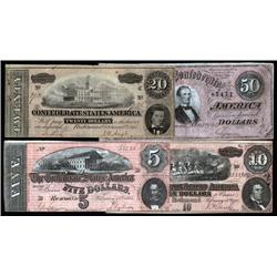 - Four Different 1864 Confederate Notes.