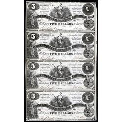 - Partial Sheet of Four Uncut T-36 Confederate Notes.