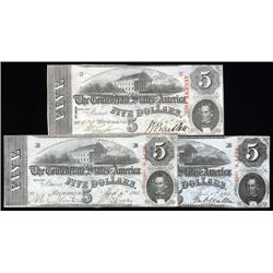 - Three Different 1863 $5 T-60 Confederate Varieties.