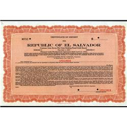 El Salvador - Republic of El Salvador, 1936, Specimen Bond.